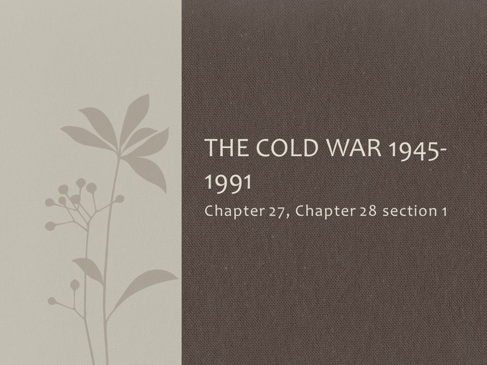 Chapter 27, Chapter 28 section 1 THE COLD WAR