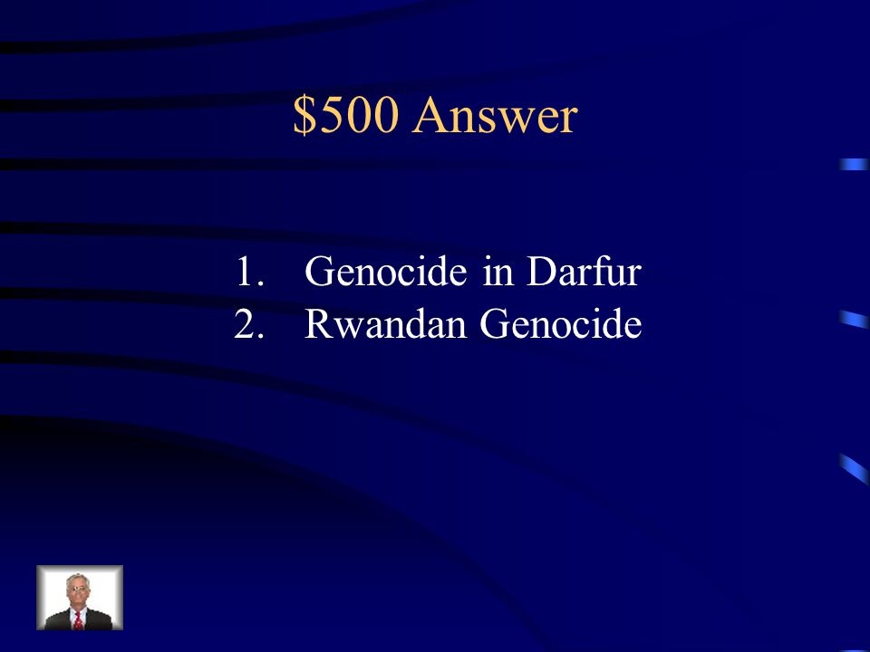 $500 Question from Africa 1.The name given to the violence and atrocities carried out in Sudan by the North against the South.