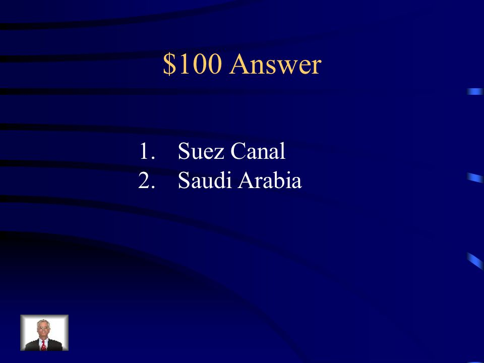 $100 Question from the Middle East 1.Name the canal located in Egypt which connects the Mediterranean to the Red Sea.