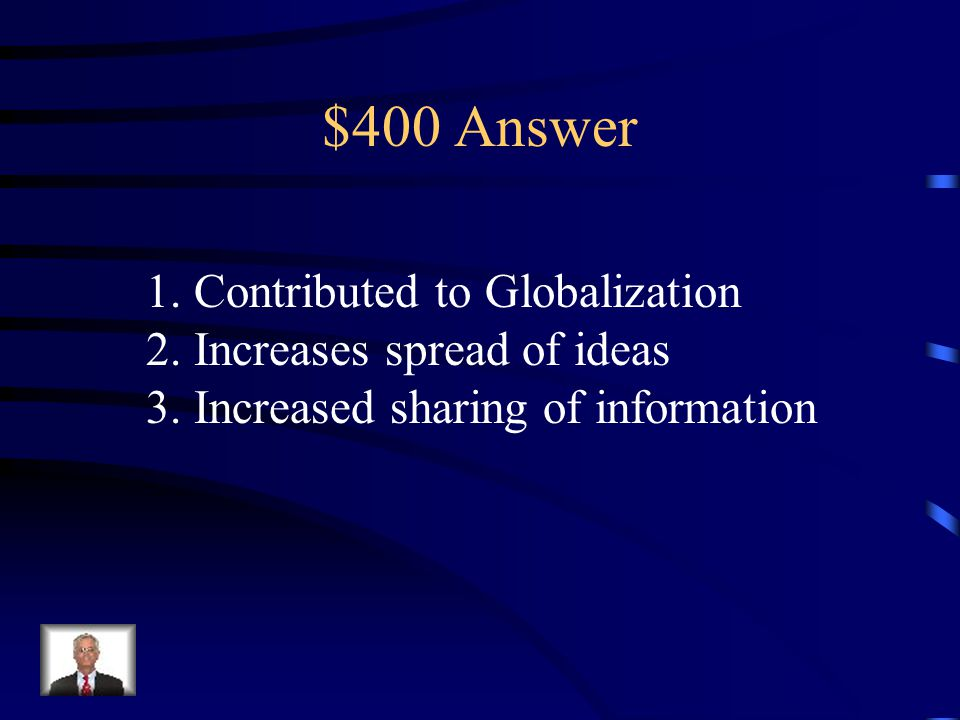 $400 Question from Intro Unit What effect has new technology (Intranet/ Satellites/Etc.) had on the modern world.