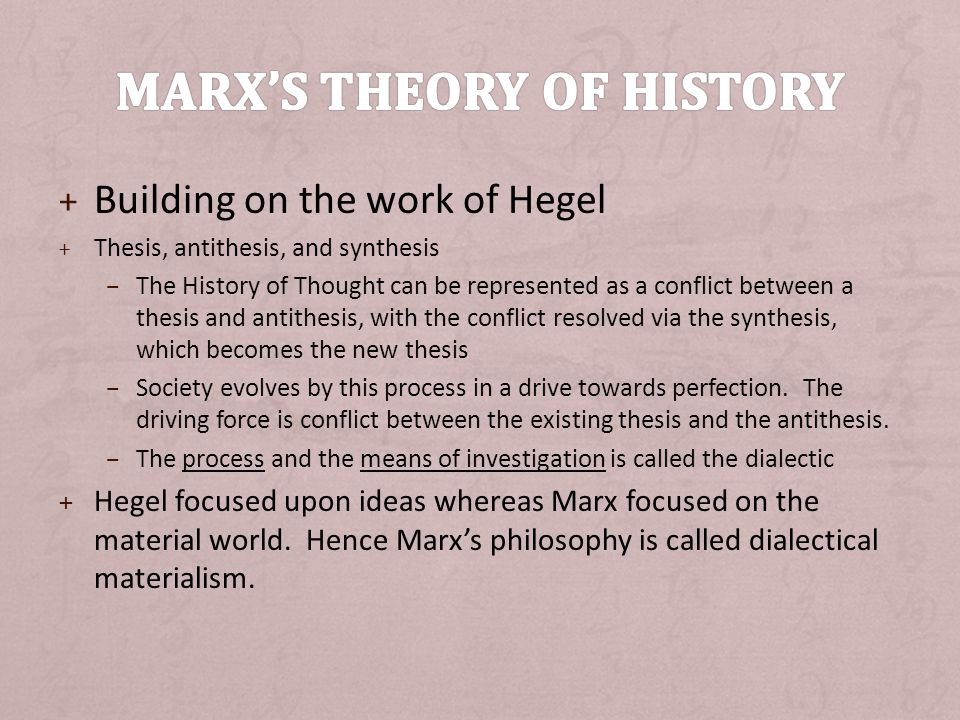 + Building on the work of Hegel + Thesis, antithesis, and synthesis – The History of Thought can be represented as a conflict between a thesis and antithesis, with the conflict resolved via the synthesis, which becomes the new thesis – Society evolves by this process in a drive towards perfection.