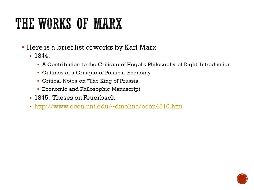  Here is a brief list of works by Karl Marx  1844:  A Contribution to the Critique of Hegel's Philosophy of Right. Introduction  Outlines of a Cri