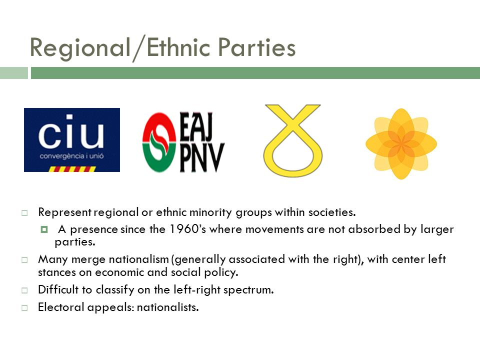 Extreme Right Parties  Generally associated with anti-immigrant, extreme nationalist, anti-government and anti-tax philosophies.