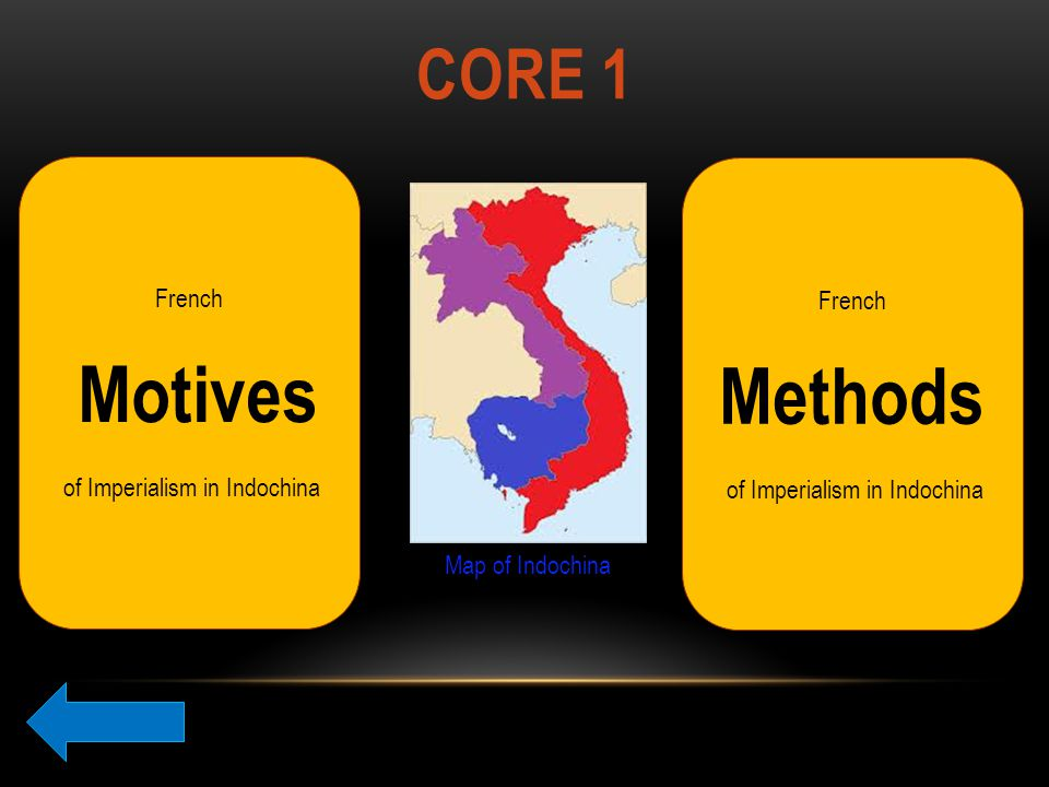 CORE 1 French Motives of Imperialism in Indochina French Methods of Imperialism in Indochina Map of Indochina