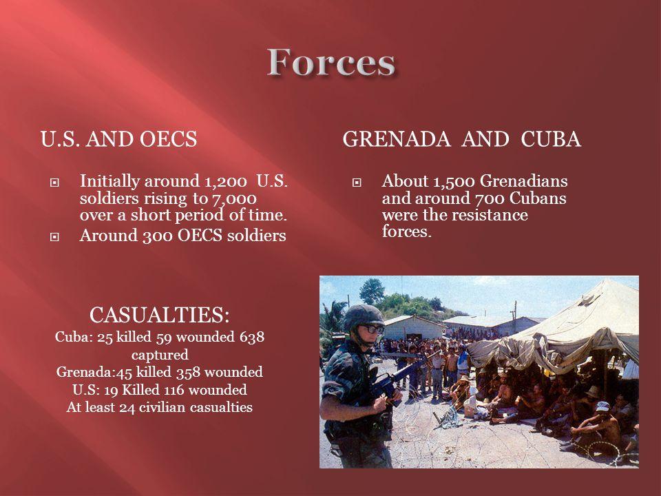 U.S. AND OECSGRENADA AND CUBA  Initially around 1,200 U.S.