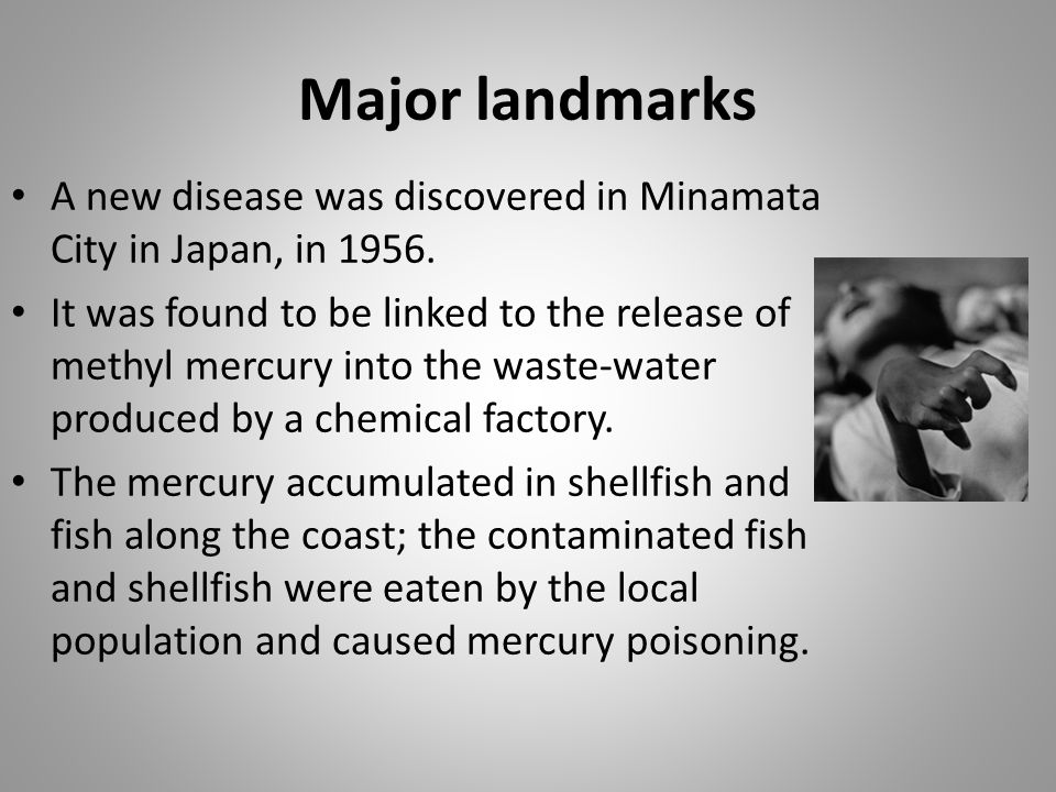 Major landmarks A new disease was discovered in Minamata City in Japan, in 1956.