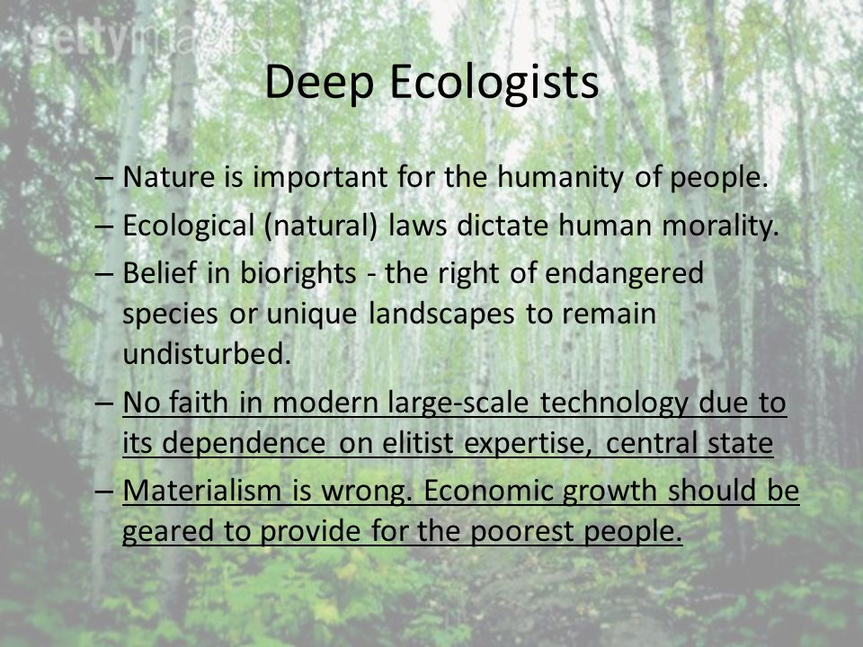 Deep Ecologists – Nature is important for the humanity of people.