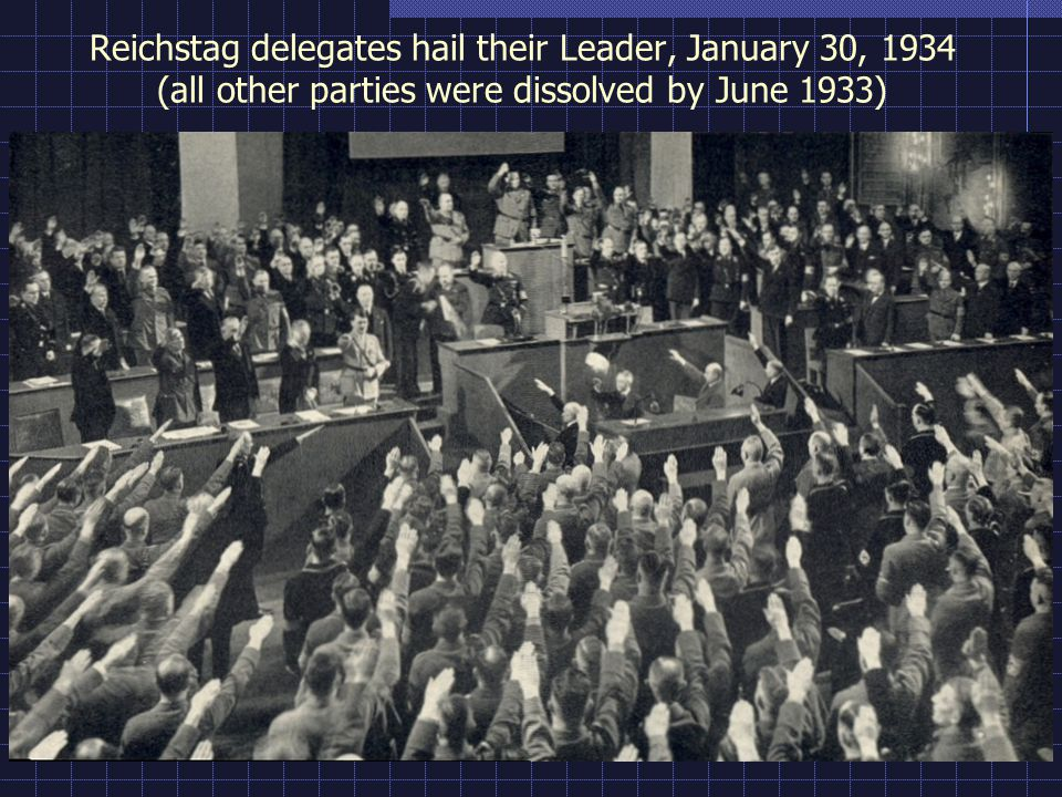 Reichstag delegates hail their Leader, January 30, 1934 (all other parties were dissolved by June 1933)