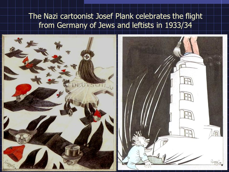 The Nazi cartoonist Josef Plank celebrates the flight from Germany of Jews and leftists in 1933/34