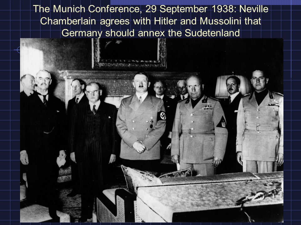 The Munich Conference, 29 September 1938: Neville Chamberlain agrees with Hitler and Mussolini that Germany should annex the Sudetenland
