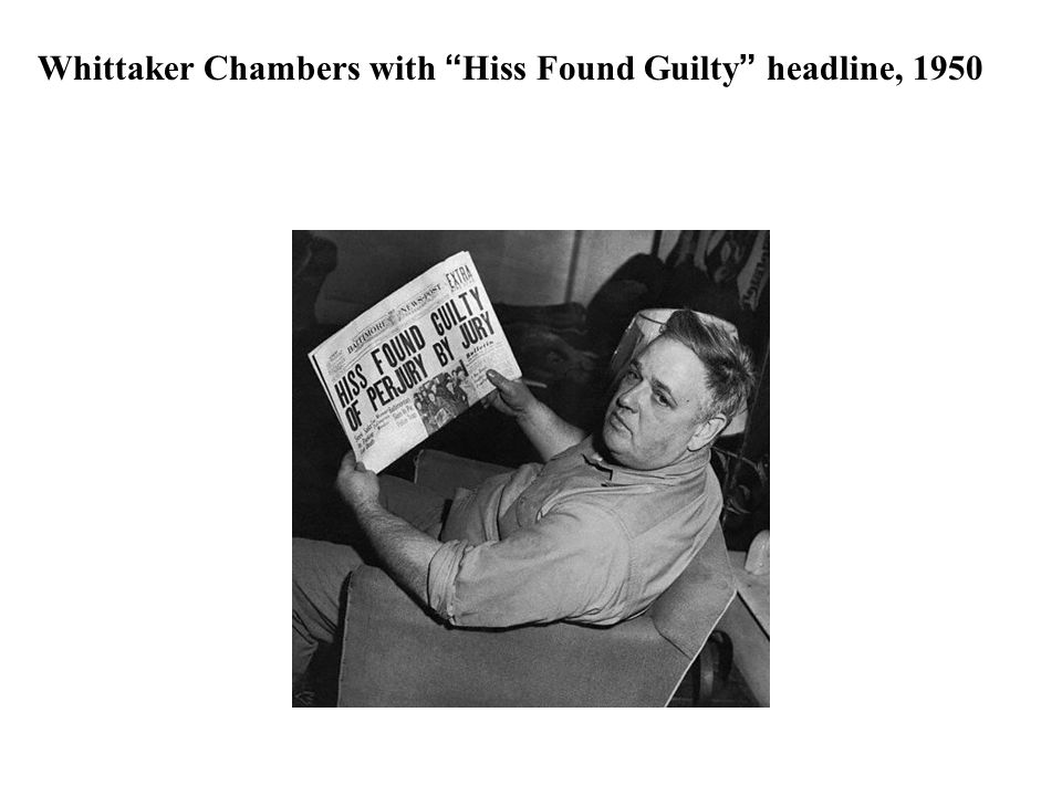 Whittaker Chambers with Hiss Found Guilty headline, 1950