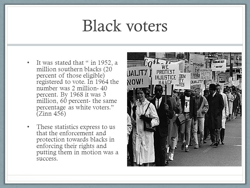 Black voters It was stated that in 1952, a million southern blacks (20 percent of those eligible) registered to vote.