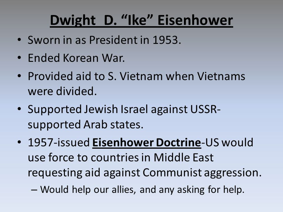 Dwight D. Ike Eisenhower Sworn in as President in 1953.
