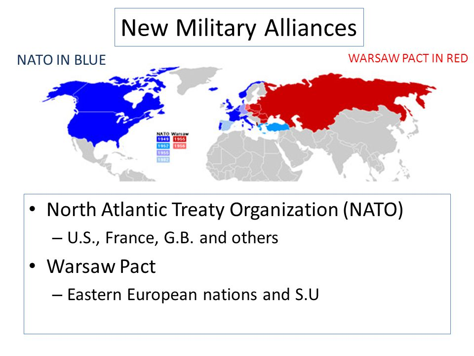 New Military Alliances North Atlantic Treaty Organization (NATO) – U.S., France, G.B. and others Warsaw Pact – Eastern European nations and S.U NATO I