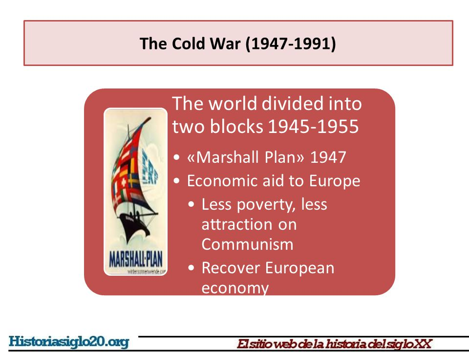 The world divided into two blocks 1945-1955 «Marshall Plan» 1947 Economic aid to Europe Less poverty, less attraction on Communism Recover European ec