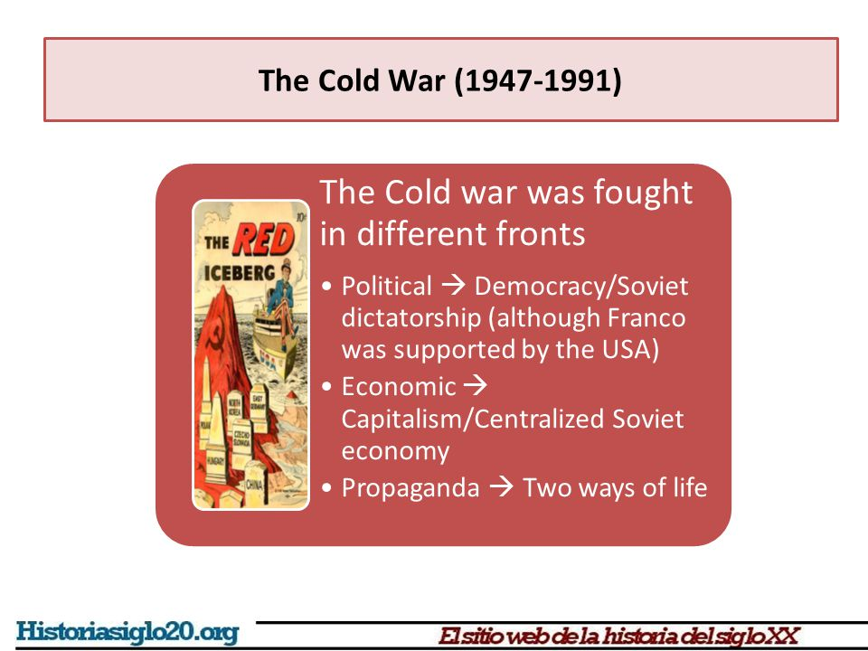 The Cold War (1947-1991) Vietnam war (1959-1975) Vietnam got divided after WWII North communist, South pro- western dictatorship Conflicts grew and the USA half million soldiers to fight N.