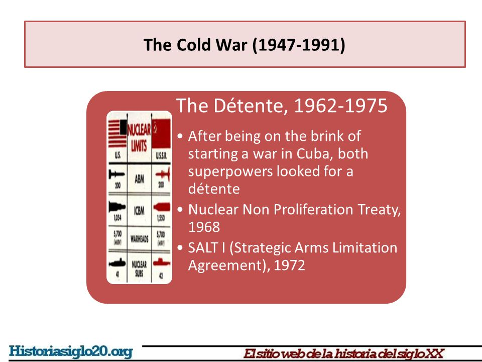 The Détente, 1962-1975 After being on the brink of starting a war in Cuba, both superpowers looked for a détente Nuclear Non Proliferation Treaty, 196