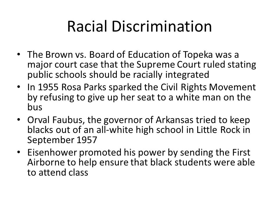 Racial Discrimination The Brown vs.