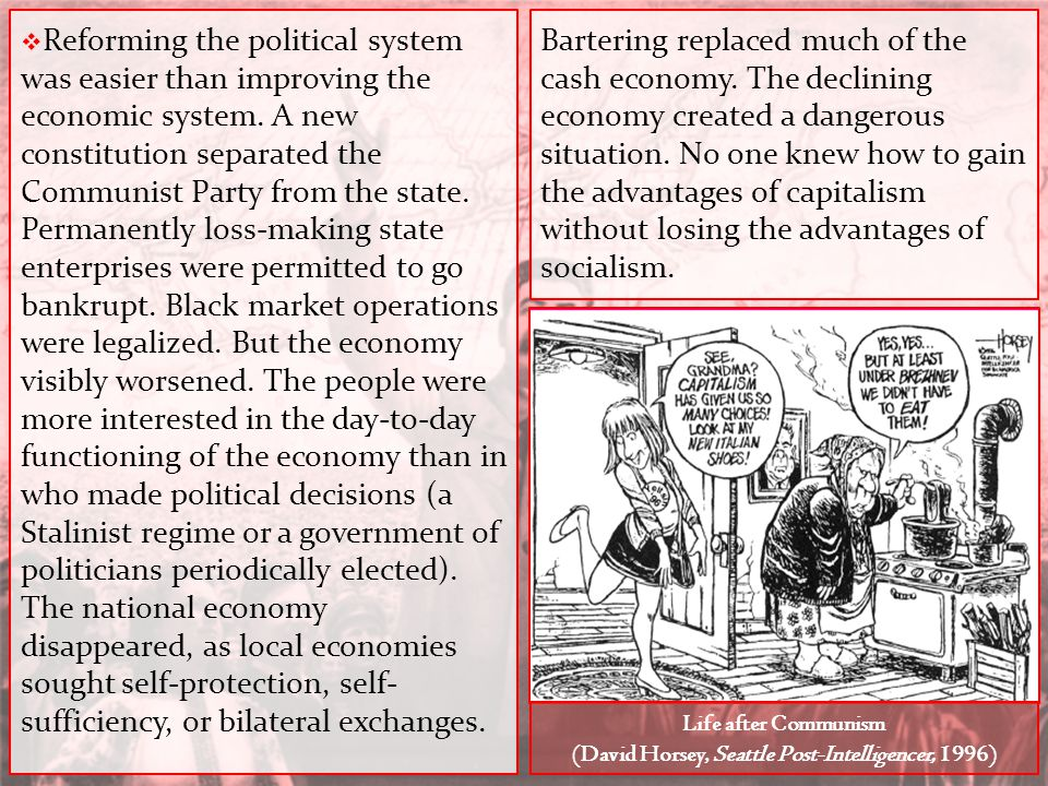  Reforming the political system was easier than improving the economic system. A new constitution separated the Communist Party from the state. Perma