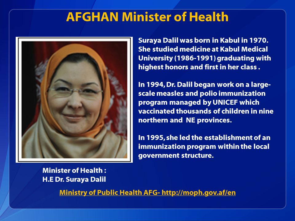AFGHAN Minister of Health Minister of Health : H.E Dr.