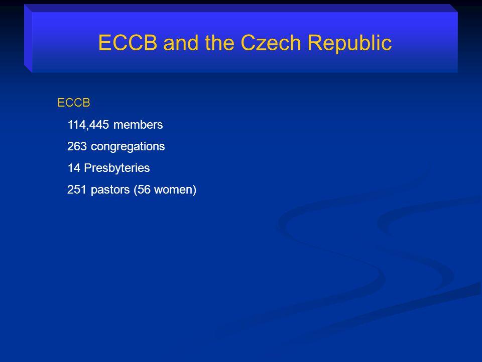 ECCB and the Czech Republic ECCB 114,445 members 263 congregations 14 Presbyteries 251 pastors (56 women)