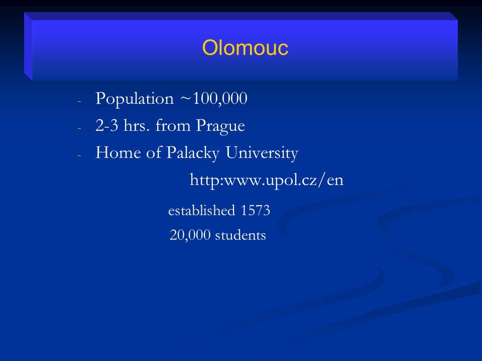 - - Population ~100,000 - - 2-3 hrs.