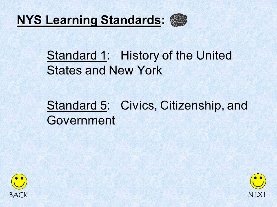 NYS Learning Standards: Standard 1: History of the United States and New York Standard 5: Civics, Citizenship, and Government NEXTBACK