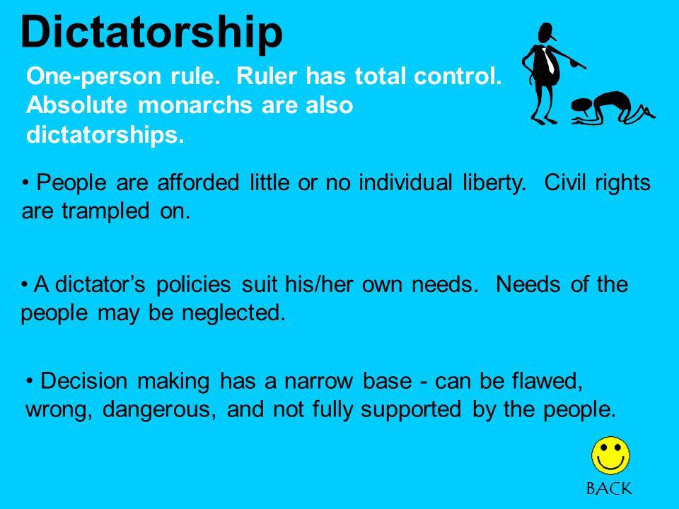 Dictatorship One-person rule.Ruler has total control.