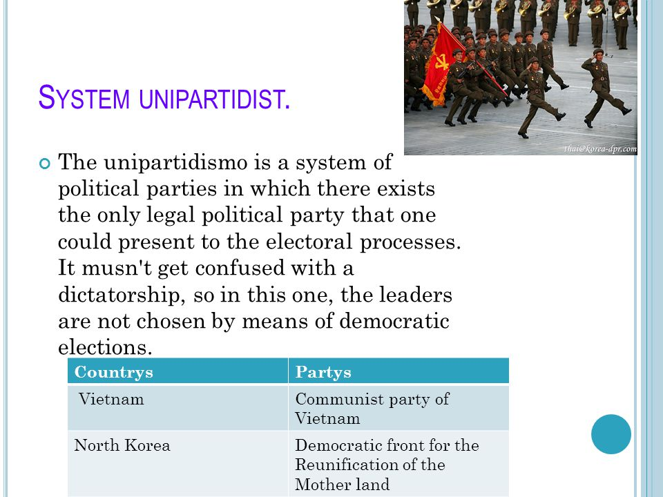 S YSTEM UNIPARTIDIST. The unipartidismo is a system of political parties in which there exists the only legal political party that one could present t