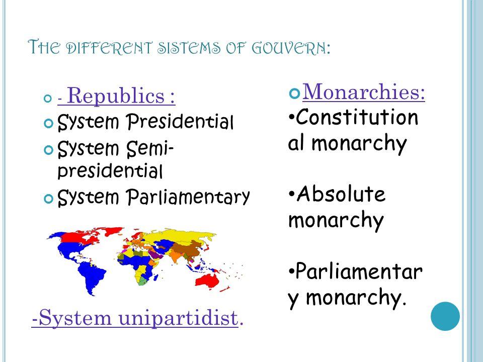 T HE DIFFERENT SISTEMS OF GOUVERN : - Republics : System Presidential System Semi- presidential System Parliamentary Monarchies: Constitution al monar