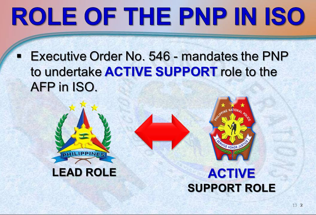  Executive Order No. 546 - mandates the PNP to undertake ACTIVE SUPPORT role to the AFP in ISO.