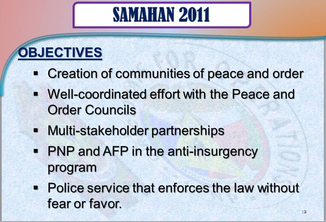 OBJECTIVES  Creation of communities of peace and order  Well-coordinated effort with the Peace and Order Councils  Multi-stakeholder partnerships  PNP and AFP in the anti-insurgency program  Police service that enforces the law without fear or favor.