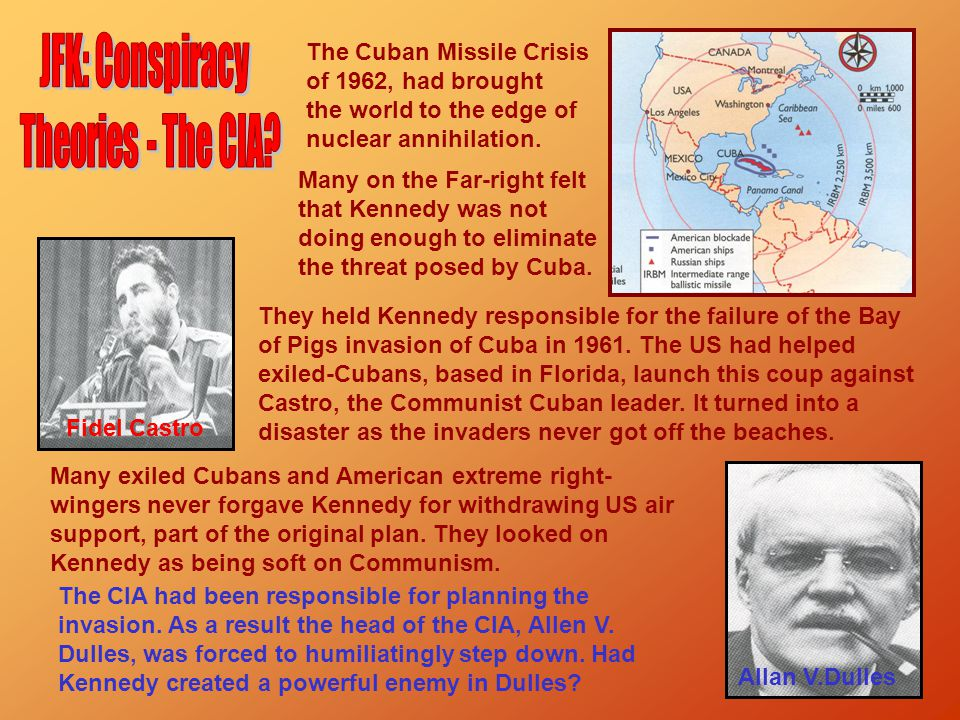 The Cuban Missile Crisis of 1962, had brought the world to the edge of nuclear annihilation. Many on the Far-right felt that Kennedy was not doing eno