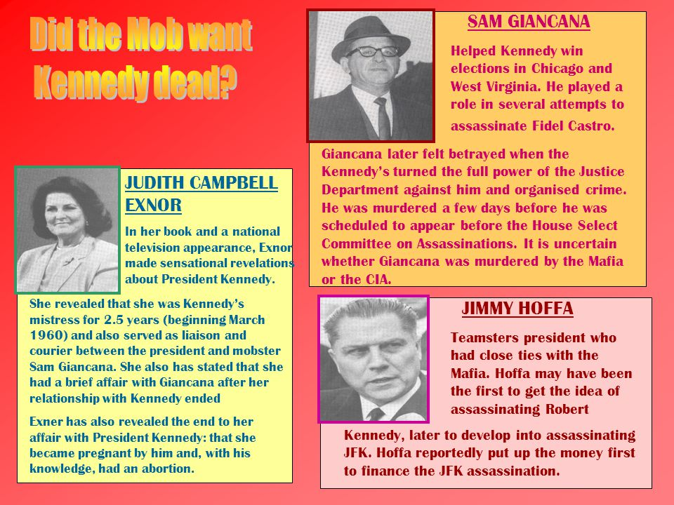 JIMMY HOFFA Teamsters president who had close ties with the Mafia. Hoffa may have been the first to get the idea of assassinating Robert Kennedy, late
