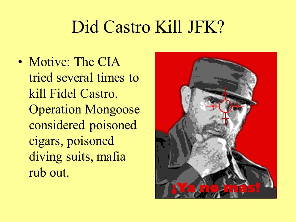 Did Castro Kill JFK.Motive: The CIA tried several times to kill Fidel Castro.
