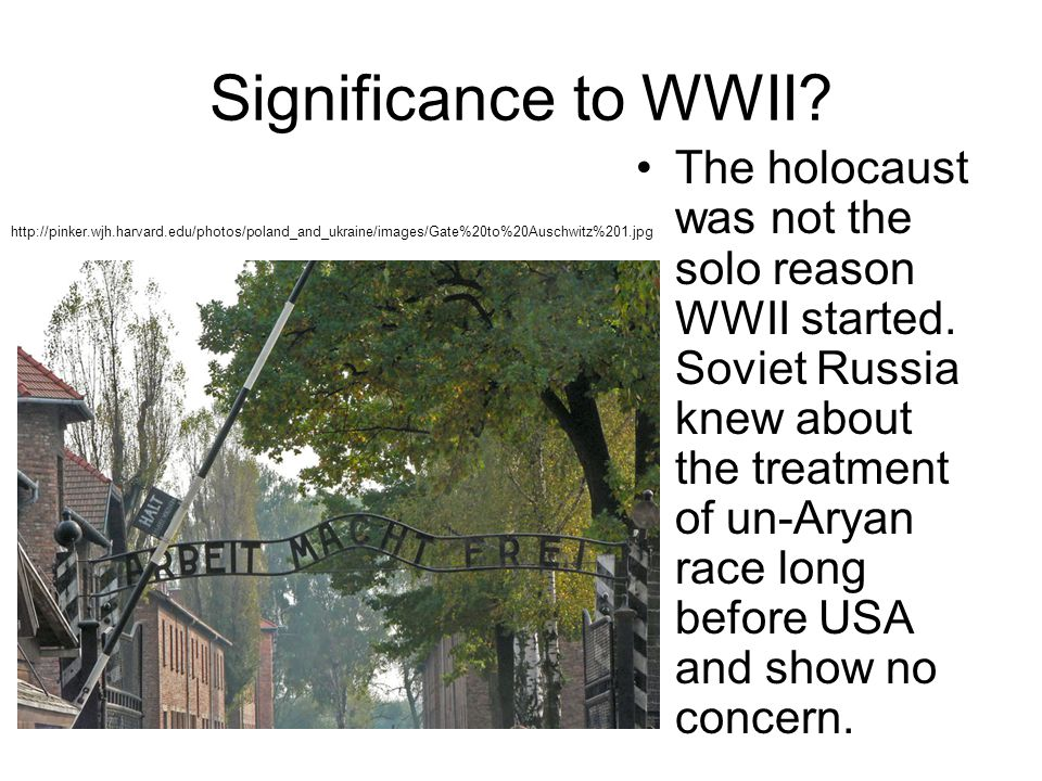 Significance to WWII. The holocaust was not the solo reason WWII started.
