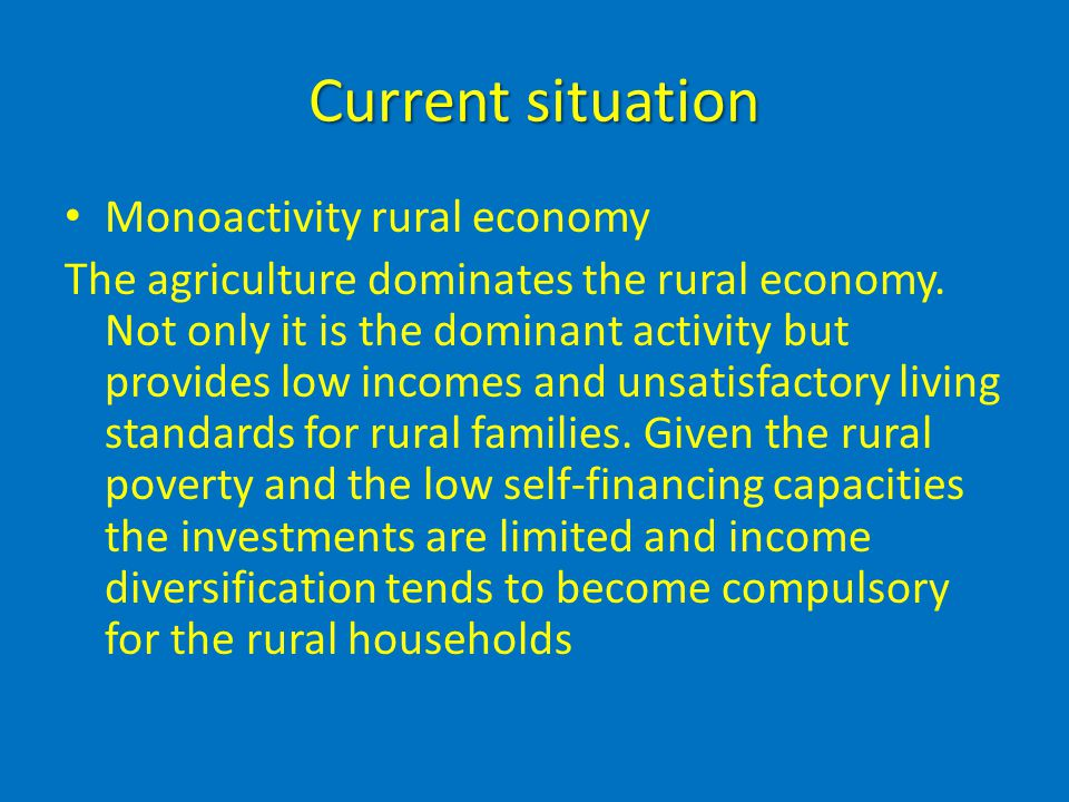 Current situation Monoactivity rural economy The agriculture dominates the rural economy. Not only it is the dominant activity but provides low income