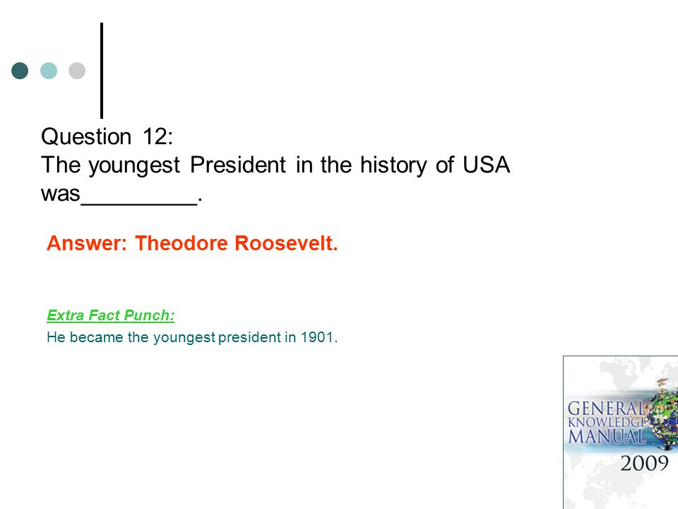 Question 12: The youngest President in the history of USA was_________. Answer: Theodore Roosevelt. Extra Fact Punch: He became the youngest president