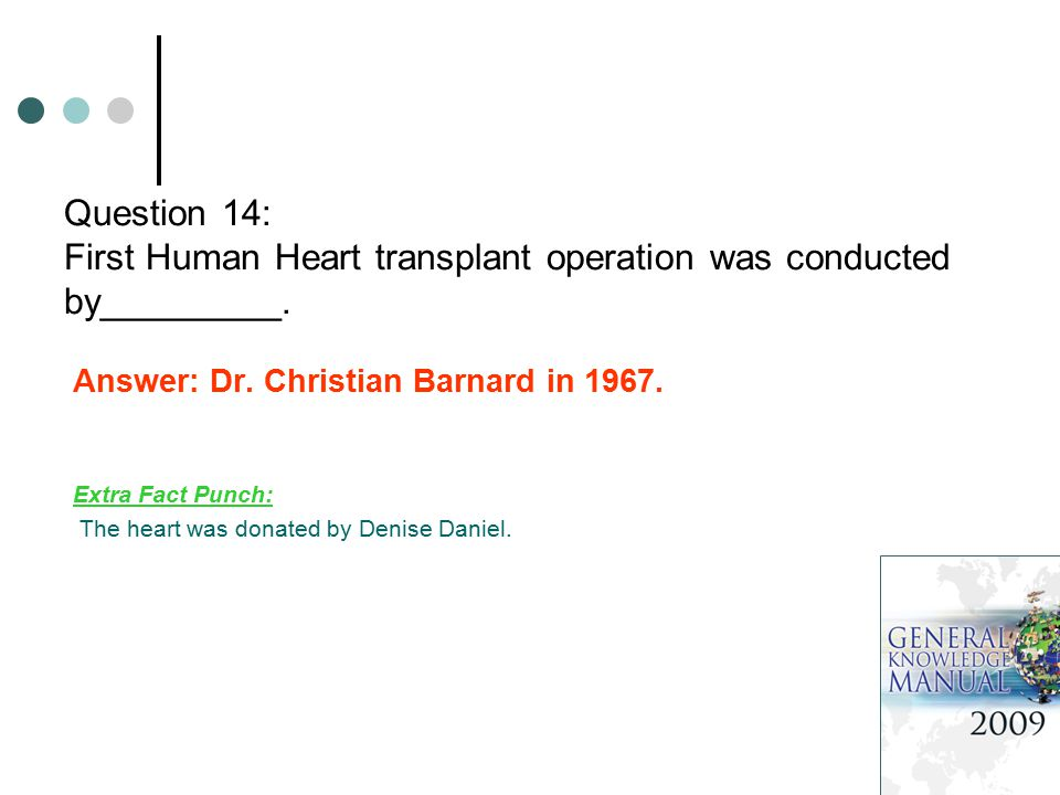 Question 14: First Human Heart transplant operation was conducted by_________.