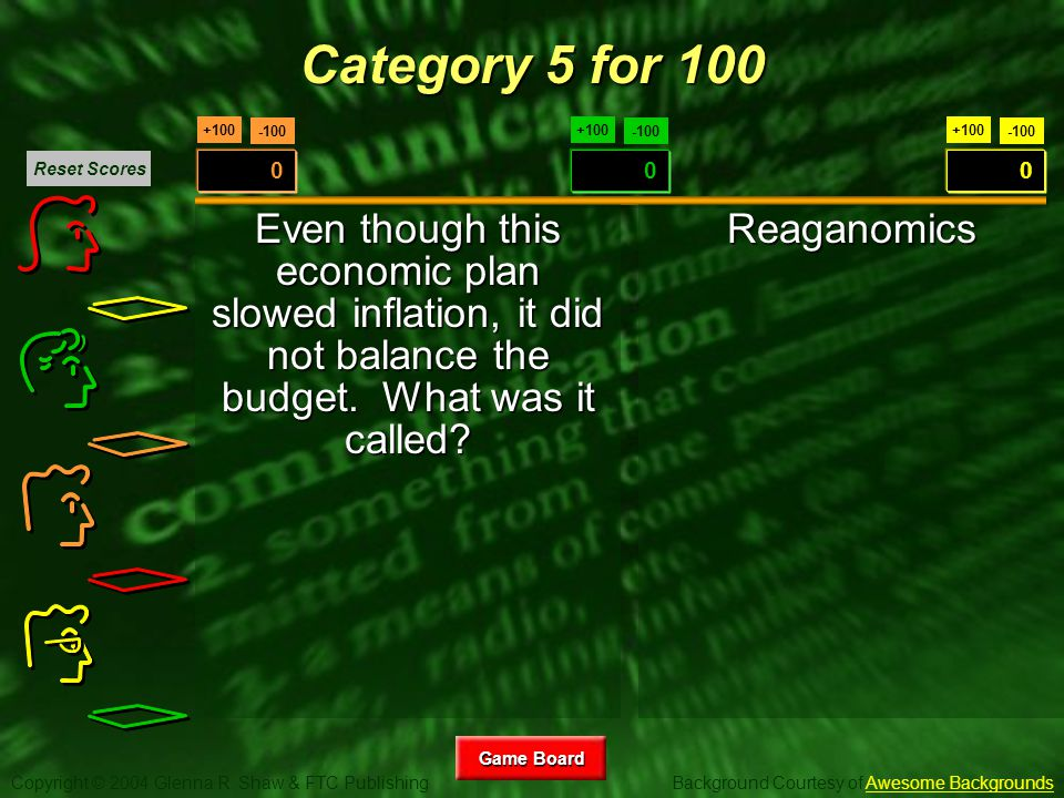 Copyright © 2004 Glenna R. Shaw & FTC Publishing Background Courtesy of Awesome BackgroundsAwesome Backgrounds Game Board Game Board +100 -100 0 +100