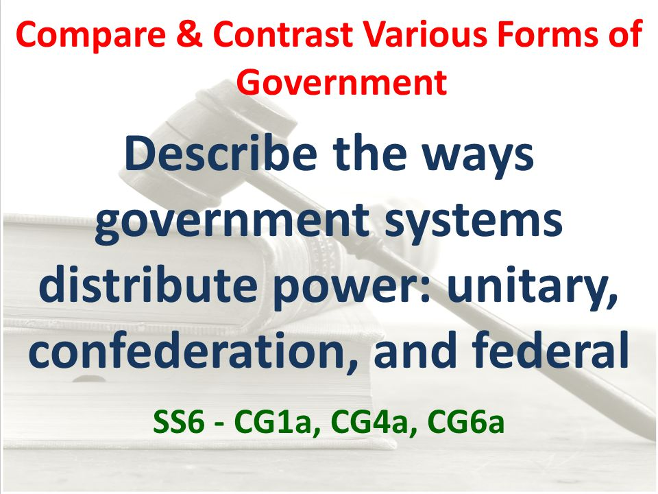 Ways Government Distributes Power Federal Unitary Confederation All key powers are held by the central government State/regional authorities hold most of the power Strong central government Weaker central government State/regional authorities hold some of the power Strong central government