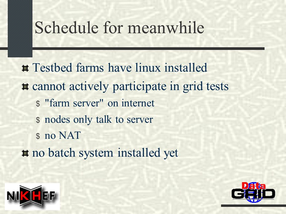 Schedule for meanwhile Testbed farms have linux installed cannot actively participate in grid tests $ farm server on internet $ nodes only talk to server $ no NAT no batch system installed yet