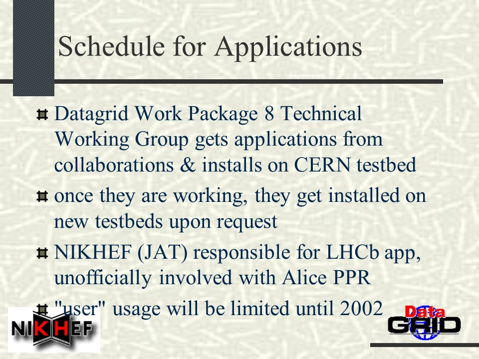 Schedule for Applications Datagrid Work Package 8 Technical Working Group gets applications from collaborations & installs on CERN testbed once they are working, they get installed on new testbeds upon request NIKHEF (JAT) responsible for LHCb app, unofficially involved with Alice PPR user usage will be limited until 2002
