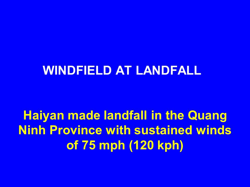WINDFIELD AT LANDFALL Haiyan made landfall in the Quang Ninh Province with sustained winds of 75 mph (120 kph)