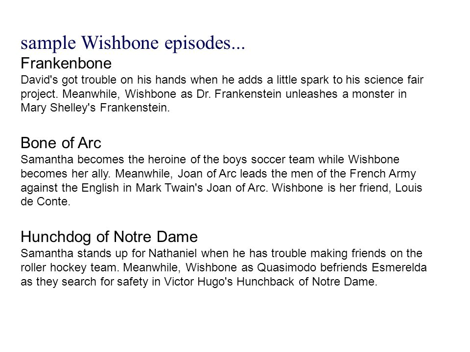 sample Wishbone episodes...
