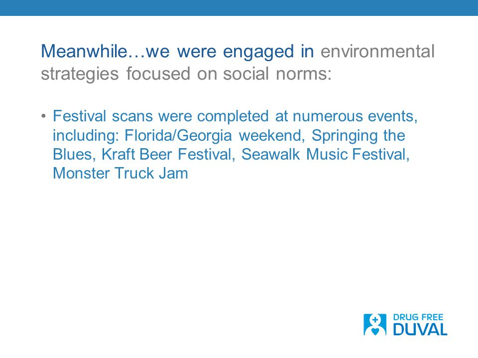 Meanwhile…we were engaged in environmental strategies focused on social norms: Festival scans were completed at numerous events, including: Florida/Ge