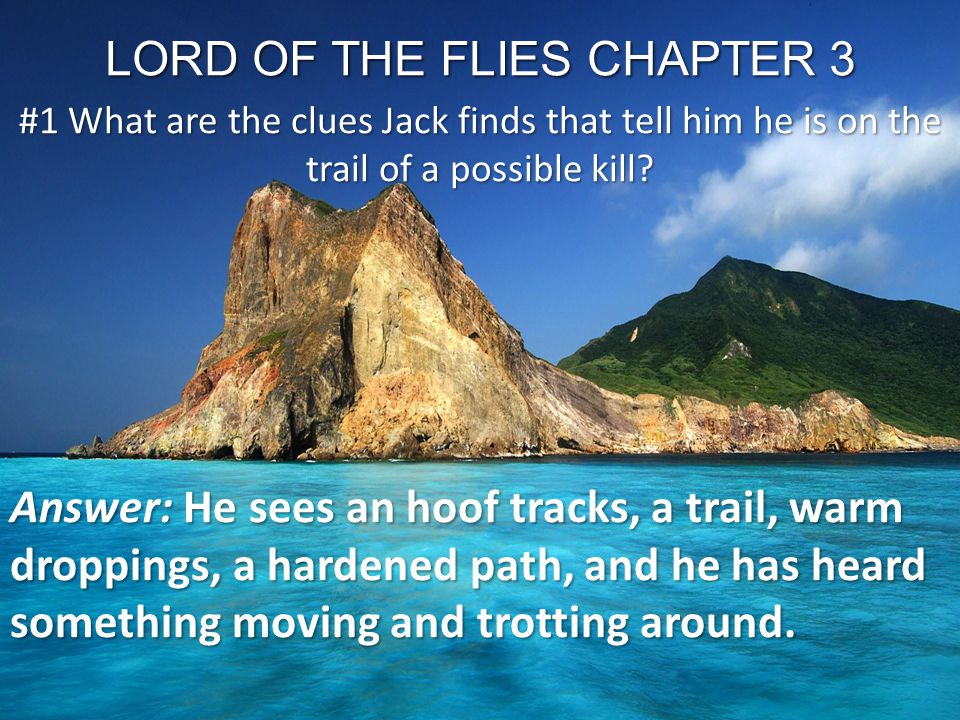 LORD OF THE FLIES CHAPTER 3 #1 What are the clues Jack finds that tell him he is on the trail of a possible kill? Answer: He sees an hoof tracks, a tr