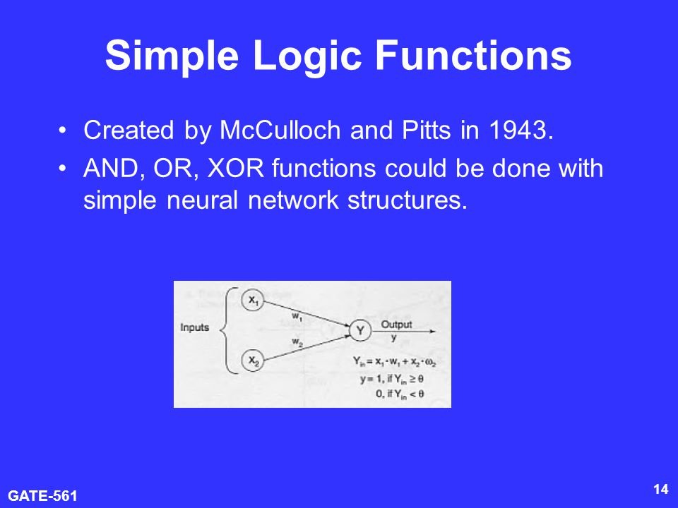 GATE-561 14 Simple Logic Functions Created by McCulloch and Pitts in 1943.