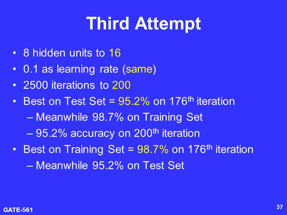 GATE-561 37 Third Attempt 8 hidden units to 16 0.1 as learning rate (same) 2500 iterations to 200 Best on Test Set = 95.2% on 176 th iteration –Meanwhile 98.7% on Training Set –95.2% accuracy on 200 th iteration Best on Training Set = 98.7% on 176 th iteration –Meanwhile 95.2% on Test Set