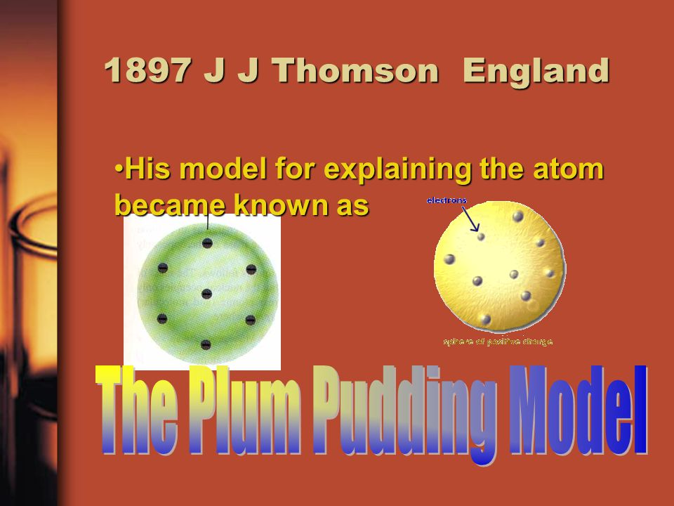 1897 J J Thomson England His model for explaining the atom became known asHis model for explaining the atom became known as